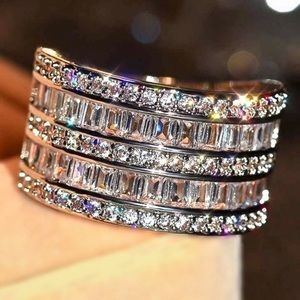 NEW 18k Baguette & Round Diamond Stacked Wide Band